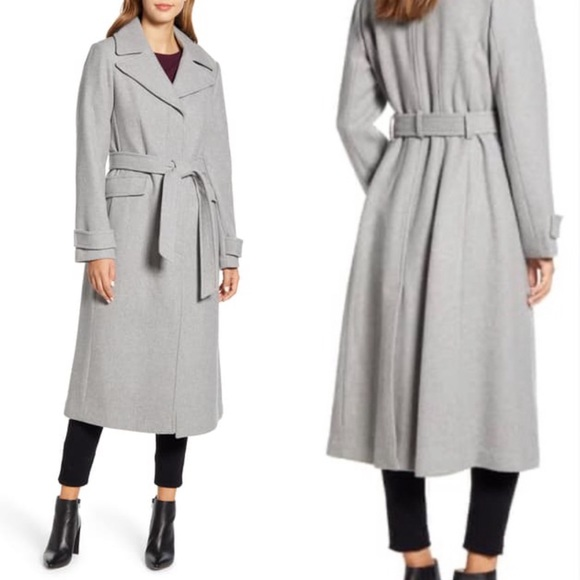 KATE SPADE Belted Wool Blend Coat Grey Size M NEW